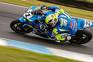 Josh Waters (21) riding for Team Suzuki ECSTAR in Q1 during round 6 of the Australian Superbike Championship on October 05, 2019 at Phillip Island Circuit, Victoria. (Image Dave Hewison/ Speed Media)