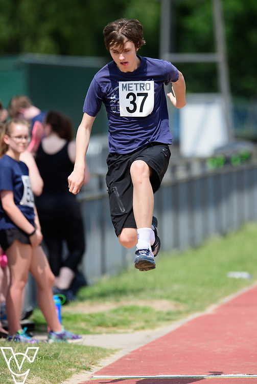 Metro Blind Sport's 2017 Athletics Open held at Mile End Stadium.  Long jump.  Andrew Lancaster<br /> <br /> Picture: Chris Vaughan Photography for Metro Blind Sport<br /> Date: June 17, 2017
