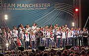 26.OCTOBER.2012. MANCHESTER<br /> <br /> ON FRIDAY 26TH OCTOBER 2012 MANCHESTER CITY COUNCIL HELD AN OLYMPIC HOMECOMING EVENT IN ALBERT SQUARE TO HONOUR MANCHESTER BASED ATHLETES, COACHES AND SUPPORT STAFF WHO PARTICIPATED IN THIS SUMMERS OLYMPIC GAMES. INCLUDING CYCLING GOLD MEDALIST SIR CHRIS HOY, TAEKWANDO GOLD MEDALIST JADE JONES &amp; CYCLING GOLD MEDALIST LAURA TROTT.<br /> <br /> BYLINE: EDBIMAGEARCHIVE.CO.UK<br /> <br /> *THIS IMAGE IS STRICTLY FOR UK NEWSPAPERS AND MAGAZINES ONLY*<br /> *FOR WORLD WIDE SALES AND WEB USE PLEASE CONTACT EDBIMAGEARCHIVE - 0208 954 5968*