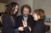 Saffron Burrows, Mike Figgis and Sam Taylor -Wood. Armani shop opening. New Bond St. 19/2/02© Copyright Photograph by Dafydd Jones 66 Stockwell Park Rd. London SW9 0DA Tel 020 7733 0108 www.dafjones.com