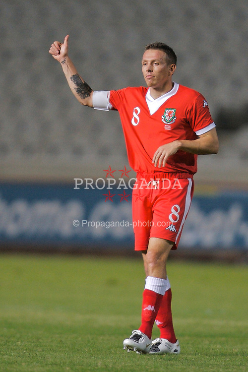 Nicosia, Cyprus - Saturday, October 13, 2007: Wales' captain Craig Bellamy during the Group D UEFA Euro 2008 Qualifying match against Cyprus at the New GSP Stadium in Nicosia. (Photo by David Rawcliffe/Propaganda)