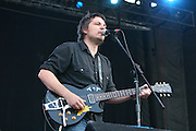 Wilco featuring Jeff Tweedy (lead singer and guitarist), John Stirratt (bass), Glenn Kotche (percussion) Nels Cline (guitar), Pat Sansone (multi-instrumentalist)and Mikael Jorgensen (pianist) performs during the fourth day of the 2007 Bonnaroo Music & Arts Festival on June 17, 2006 in Manchester, Tennessee. The four-day music festival features a variety of musical acts, arts and comedians..Photo by Bryan Rinnert