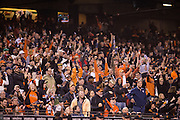 San Francisco Giants fans react to a run against the St. Louis Cardinals at AT&T Park in San Francisco, Calif., on September 16, 2016. (Stan Olszewski/Special to S.F. Examiner)