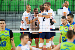 Nimir Abdel-Aziz, Wessel Keemink of the Netherlands during friendly volleyball match between National Men teams of Slovenia and Netherlands, on December 30, 2019, in Arena Stozice, Ljubljana, Slovenia. Photo by Sinisa Kanizaj / Sportida