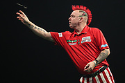 Peter Wright during the PDC World Darts Championship at The MotorPoint Arena, Cardiff. Pictures taken by Shane Healey.