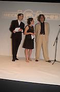 Philip Dodd, Wim Wenders and Becks Art prizewinner, Rosalind Nashashibi, Becks Futures 2003 awards evening. I.C.A. 29 April 2003. © Copyright Photograph by Dafydd Jones 66 Stockwell Park Rd. London SW9 0DA Tel 020 7733 0108 www.dafjones.com