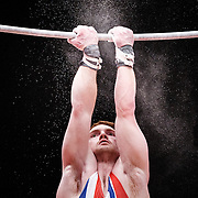Daniel Purvis of Great Britain performs on the Horizontal Bar at the Men's All-Round Final at the 46th FIG Artistic Gymnastics World Championships in Glasgow, Britain, 30 October 2015.