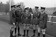 08/02/1963<br /> 02/08/1963<br /> 08 February 1963<br /> Colonel Joseph P. McNally retires from O.C. Eastern Command. Colonel McNally, O.C. Eastern Command took the salute for his last time at a march past at Collins Barracks, Dublin to mark his retirement. Born in Belfast he joined the Army in 1923 as Captain after service with the 3rd Northern Division during the War of Independence. He rose to the rank of Colonel in 1958 and became O.C. in 1961. Col. McNally Lived at Frankfort Lodge, Inchicore Road Dublin and was married with four children. One of his sons, Captain Pat McNally was in the Army Signal Corps. Photo shows: Col. McNally (centre) with (l-r) Col. J. Neylon, (O.C. Army Equitation School); Col. Mortimer Buckley, (O.C. 6th Brigade); Col. D. Fitzgerald, (O.C. 2nd Brigade) and Lt. Col. J.S. Nolan, (E.O. Eastern Command).