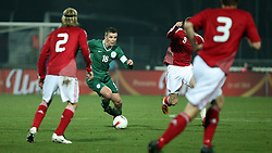 Anton Zlogar (16) of Slovenia circled by Denmark players during the UEFA Friendly match between national teams of Slovenia and Denmark at the Stadium on February 6, 2008 in Nova Gorica, Slovenia.  Slovenia lost 2:1. (Photo by Vid Ponikvar / Sportal Images).