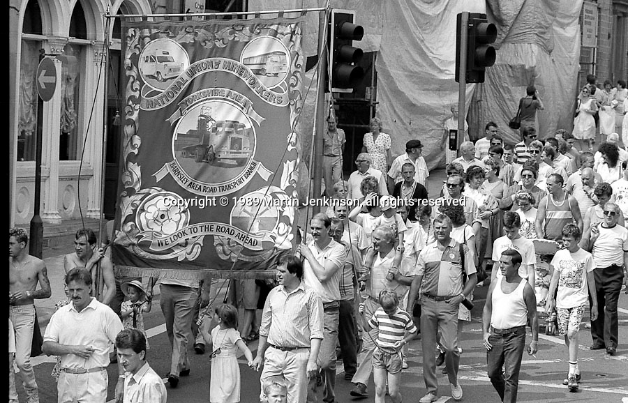 Barnsley Area Road Transport Branch banner. NUM Centenary Demonstration and Gala, Barnsley.