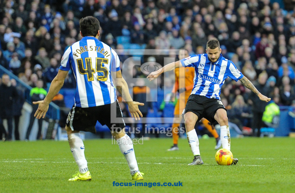 Daniel Pudil of Sheffield Wednesday scores to make it 3-1 during the Sky Bet Championship match at Hillsborough, Sheffield<br /> Picture by Richard Land/Focus Images Ltd +44 7713 507003<br /> 20/12/2015