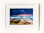 Maroubra Daybreak&ndash; Ex exhibition work. One only available. 8x12&rdquo; signed print on Fujicolor Pearl metallic paper. Mounted on 2mm aluminium composite. White box frame with white mattboard, UV acrylic &amp; D-ring hangers. Outside frame dimensions 350 x 450 x 38mm. Clearance price $129 incl GST &amp; free delivery in Sydney metro area. Add $30 delivery elsewhere in Australia. <br /> <br /> Inspection can be arranged before purchase in Sydney metro area.<br /> <br /> Order by email to orders@GirtBySeaPhotography.com<br /> <br /> Link to original image:<br /> http://girtbyseaphotography.photoshelter.com/gallery-image/Maroubra/G00003wTzdGPGszs/I0000Yz0oXXLBHZ0/C0000vTXfzDGo.Ko
