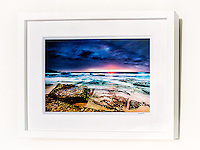 Maroubra Daybreak&ndash; Ex exhibition work. One only available. 8x12&rdquo; signed print on Fujicolor Pearl metallic paper. Mounted on 2mm aluminium composite. White box frame with white mattboard, UV acrylic &amp; D-ring hangers. Outside frame dimensions 350 x 450 x 38mm. Clearance price $129 incl GST &amp; free delivery in Sydney metro area. Add $30 delivery elsewhere in Australia. <br />