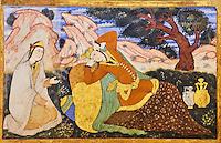 Iran, province d'Ispahan, Ispahan, Palais de Chehel Sotun, la salle du banquet, peinture murale  // Iran, Isfahan, Chehel Sotun palace, The Great hall or Throne hall painting