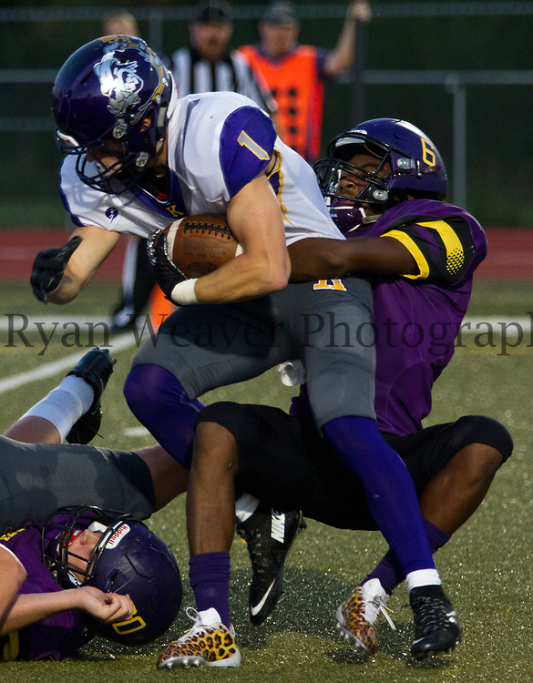 Antione Nunn, Jr., Belton, keeps Logan Hachman of Kearney from the end zone Friday night at Southwick Stadium. The Pirate defense gave up six touchdowns in their 44-7 loss to the Bulldogs.