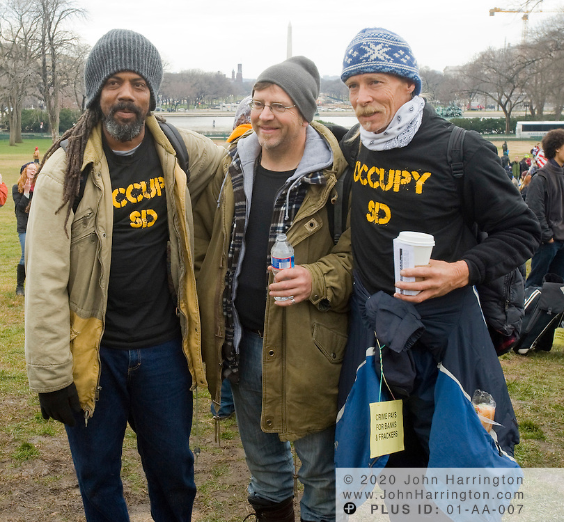 Occupy protesters from occupy San Diego join Occupy DC protesters on the grounds of the US Capitol, Tuesday January 17,2012.