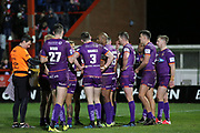 The Huddersfield Giants team hold a team talk during the Betfred Super League match between Hull Kingston Rovers and Huddersfield Giants at the Hull College Craven Park  Stadium, Hull, United Kingdom on 21 February 2020.