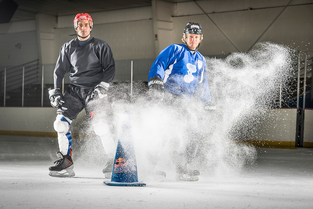 Jack Shram (L) and Harrison Rigsby (R) pose for a portrait at Red Bull Crashed Ice at the Tampa Bay Skating Academy in Tampa Bay, FL, USA on 4  January 2014.
