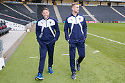 AFC Wimbledon goalkeeping coach Ashley Bayes and AFC Wimbledon goalkeeper George Long (1), on loan from Sheffield United,  on the pitch prior to the EFL Sky Bet League 1 match between Milton Keynes Dons and AFC Wimbledon at stadium:mk, Milton Keynes, England on 13 January 2018. Photo by Simon Davies.