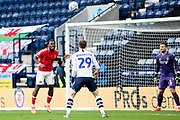 Charlton Athletic defender Adedeji Oshilaja (4) heads the ball  during the EFL Sky Bet Championship match between Preston North End and Charlton Athletic at Deepdale, Preston, England on 18 January 2020.