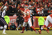 Jan 20, 2019; Kansas City, MO, USA; Kansas City Chiefs quarterback Patrick Mahomes (15) looks to throw the football during the AFC Championship game at Arrowhead Stadium. The Patriots defeated the Chiefs 37-31 in overtime to advance to their fifth Super Bowl in eight seasons. (Robin Alam/Image of Sport)