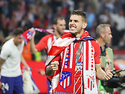 Lucas Hernández of Atletico Madrid celebrates during the Europa League Final match between Olympique de Marseille and Atletico Madrid at Orange Velodrome, Marseille, France on 16 May 2018. Picture by Ahmad Morra.