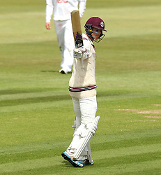 Somerset's Tom Abell holds his bat up after scoring 50 - Photo mandatory by-line: Robbie Stephenson/JMP - Mobile: 07966 386802 - 21/06/2015 - SPORT - Cricket - Southampton - The Ageas Bowl - Hampshire v Somerset - County Championship Division One