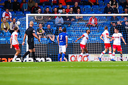 Will Evans of Chesterfield's shot bulges in the back of the net to put Chesterfield level - Mandatory by-line: Ryan Crockett/JMP - 20/07/2019 - FOOTBALL - Proact Stadium - Chesterfield, England - Chesterfield v Rotherham United - Pre-season friendly