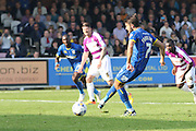 George Francomb of AFC Wimbledon puts his penalty too near Max Crocombe during the Sky Bet League 2 match between AFC Wimbledon and Barnet at the Cherry Red Records Stadium, Kingston, England on 3 October 2015. Photo by Stuart Butcher.