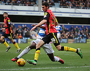 Birmingham City attacker, Will Buckley (30) driving into the box during the Sky Bet Championship match between Queens Park Rangers and Birmingham City at the Loftus Road Stadium, London, England on 27 February 2016. Photo by Matthew Redman.