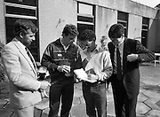 Frank Stapleton Testimonial.   (R77)..1988..25.04.1988..04.25.1988..25th April 1988..Today at the Guinness Reception Centre details of the testimonial match for Frank Stapleton were announced. Frank ,one of Ireland's greatest players,played 71 times for Ireland scoring 20 goals. During his illustrious career frank played for Arsenal, Manchester United and Ajax of Amsterdam. ..Former team mate of Frank, Kevin Moran (2nd left) was on hand to lend support to Frank on his testimonial announcement.