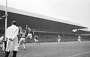 Kerry's Barrett blocked by Galway forwards in the goal during the All Ireland Senior Gaelic Football Final Kerry v. Galway in Croke Park on the 26th September 1965. Galway 0-12 Kerry 0-09.