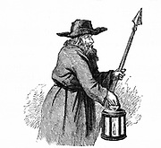 London night-watchman going through the streets with his pike and lantern:1569. Engraving