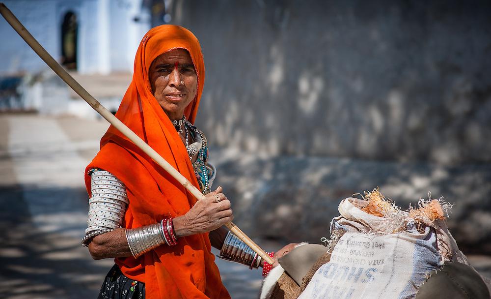 Tribal woman shepherd (India)