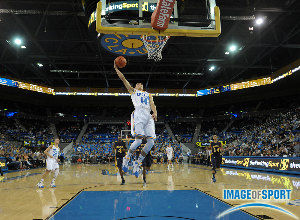 Nov 8, 2013; Los Angeles, CA, USA; UCLA Bruins guard Zach LaVine (14) shoots the ball against the Drexel Dragons at Pauley Pavilion. UCLA defeated Drexel 72-67.