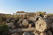 Ruins of Temple A, built 490-460 BC, which had a peristyle of 6 x 14 Doric columns, 2 spiral staircases leading to a gallery floor and a mosaic pavement, on the acropolis of the ancient ruined Greek city of Selinunte, Sicily, Italy. In the distance is Temple C, built 550 BC, with a peristyle of 6 x 17 Doric columns, 14 of which were re-erected in 1925-27 along with a section of the entablature. It was dedicated to Apollo and is thought to have been used as an archive. Selinunte was founded in 628 BC and was an important Greek colony, home to up to 100,000 people at its peak and abandoned in 250 BC. The city consists of an acropolis housing 2 main streets and 5 temples, 3 other hills with housing and temples and 2 necropoleis. Picture by Manuel Cohen