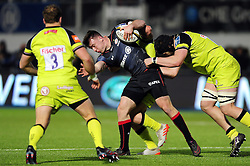 Matt Gallagher of Saracens takes on the Leicester Tigers defence - Mandatory byline: Patrick Khachfe/JMP - 07966 386802 - 05/02/2017 - RUGBY UNION - Allianz Park - London, England - Saracens v Leicester Tigers - Anglo-Welsh Cup.