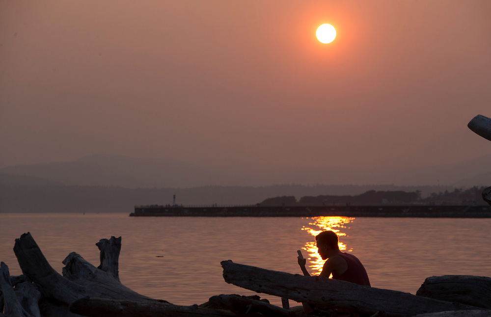 A man checks his cell phone at Holland Point Park below the Dallas Road Waterfront Trail in Victoria, British Columbia Canada on August 3, 2017. <br /> <br /> Smoke from wildfires in British Columbia&rsquo;s interior has drifted over Victoria and the lower mainland pushing air quality to a high risk level.