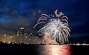 Photo By Michael R. Schmidt.July 4th fireworks over Lake Michigan. Chicago, 2010.