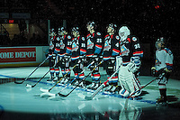 KELOWNA, CANADA - OCTOBER 21: Jake Kryski #14, Calvin Thurkauf #27, Nick Merkley #10, Cal Foote #25, Gordie Ballhorn #4 and Michael Herringer #30 of the Kelowna Rockets line up against the Tri-City Americans on October 21, 2016 at Prospera Place in Kelowna, British Columbia, Canada.  (Photo by Marissa Baecker/Shoot the Breeze)  *** Local Caption ***