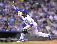 April 13, 2017 - Kansas City, MO, USA - Kansas City Royals relief pitcher Joakim Soria throws in the eighth inning against the Oakland Athletics at Kauffman Stadium in Kansas City, Mo., on Thursday, April 13, 2017. The Royals won, 3-1. (Credit Image: © John Sleezer/TNS via ZUMA Wire)