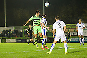 Forest Green Rovers Darren Carter(12) gets up to head the ball during the Vanarama National League match between Forest Green Rovers and Tranmere Rovers at the New Lawn, Forest Green, United Kingdom on 22 November 2016. Photo by Shane Healey.
