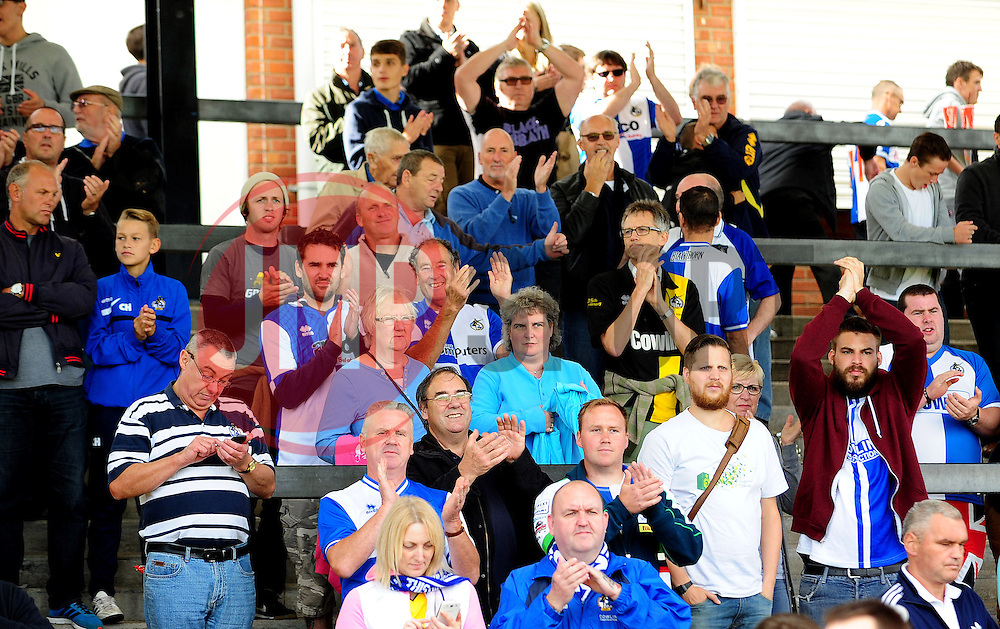 Bristol Rovers fans celebrate - Photo mandatory by-line: Neil Brookman - Mobile: 07966 386802 23/08/2014 - SPORT - FOOTBALL - Bristol - Memorial Stadium - Bristol Rovers v AFC Telford - Vanarama Football Conference