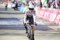 Ricardo Zoidl (AUT) Trek-Segafredo crosses the finish line of Stage 1 of the 2016 Giro d'Italia, an individual time trial of 9.8km around Apeldoorn, The Nethrerlands. 6th May 2016.<br /> Picture: Eoin Clarke | Newsfile<br /> <br /> <br /> All photos usage must carry mandatory copyright credit (© Newsfile | Eoin Clarke)