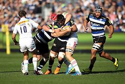 David Wilson of Bath Rugby is tackled - Mandatory byline: Robbie Stephenson/JMP - 07966386802 - 31/10/2015 - RUGBY - Recreation Ground -Bath,England - Bath Rugby v Harlequins - Aviva Premiership