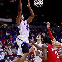 November 30, 2010; Baton Rouge, LA, USA;  LSU Tigers guard Aaron Dotson (45) shoots against the Houston Cougars during the first half at the Pete Maravich Assembly Center.  Mandatory Credit: Derick E. Hingle