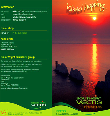 Southern Vectis Bus Time table Isle of Wight