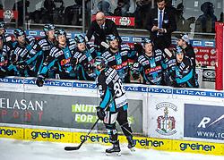17.02.2019, Keine Sorgen Eisarena, Linz, AUT, EBEL, EHC Liwest Black Wings Linz vs Fehervar AV 19, 47. Runde, im Bild Dan DaSilva (EHC Liwest Black Wings Linz) feiert das 1 zu 1 // during the Erste Bank Eishockey League 47th round match between EHC Liwest Black Wings Linz and Fehervar AV 19 at the Keine Sorgen Eisarena in Linz, Austria on 2019/02/17. EXPA Pictures © 2019, PhotoCredit: EXPA/ Reinhard Eisenbauer