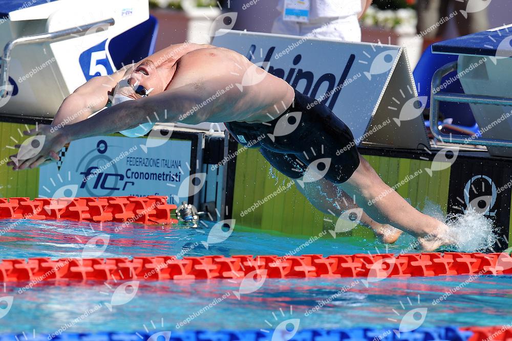 Camille Lacourt<br /> 50m Backstroke Men<br /> Roma 13/6/2013 Piscina del Foro Italico <br /> Nuoto 50mo trofeo Settecolli<br /> Settecolli 50th International swimming trophy <br /> Foto Antonietta Baldassarre Insidefoto