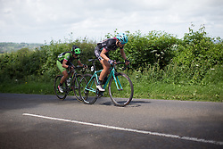 Martina Ritter (AUT) of Drops Cycling Team and Malgorzata Jasinska (POL) of Cylance Pro Cycling attack on Stage 3 of the OVO Energy Women's Tour - a 151 km road race, between Atherstone and Royal Leamington Spa on June 9, 2017, in Warwickshire, United Kingdom. (Photo by Balint Hamvas/Velofocus.com)